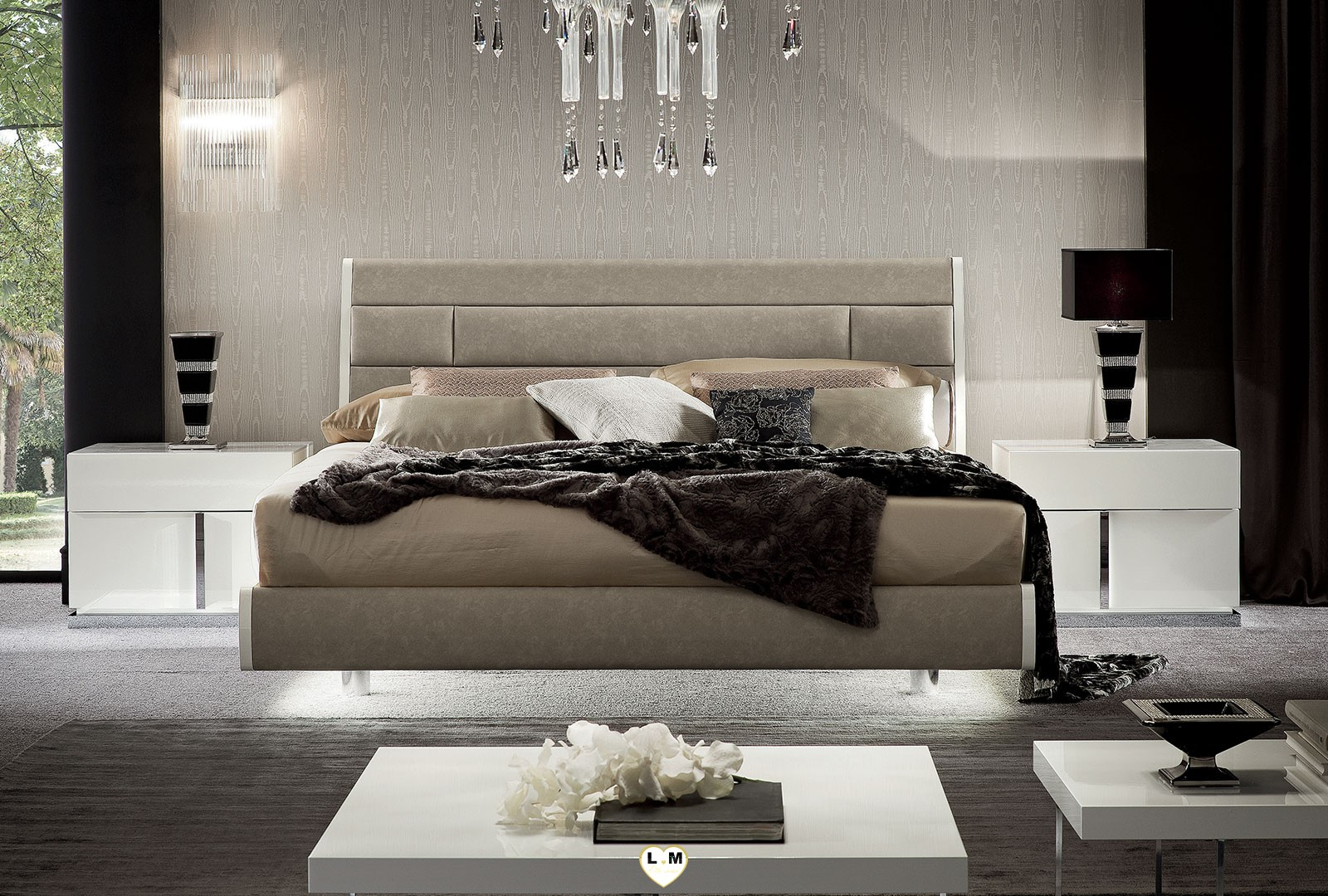 Malibu laque blanc brillant ensemble chambre a coucher lignemeuble com - Lit laque blanc brillant ...