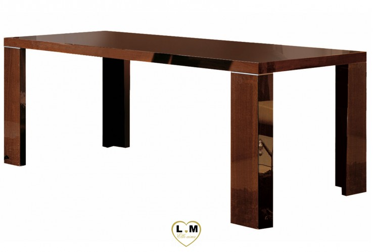 PACIFIC PALISSADES LAQUE NOYER CANALETTO SEJOUR SALLE A MANGER: LA TABLE REPAS EXTENSIBLE - 2 Allonges de 2x45cm - Incrustation chrome - L: 205+2x45 - P: 105 - H: 76cm.