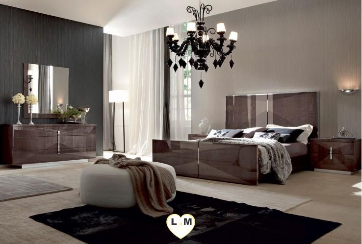 pasadena laque bouleau vison ensemble chambre coucher - Chambre A Coucher Blanc Laque Brillant