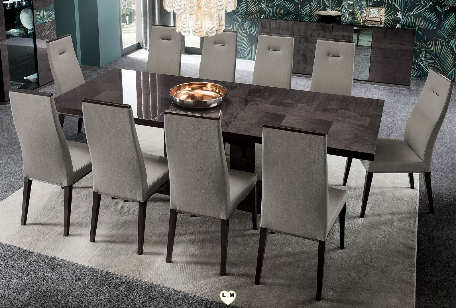 Sunset laque brillant velours gris ensemble sejour salle a for Ensemble table salle a manger chaises