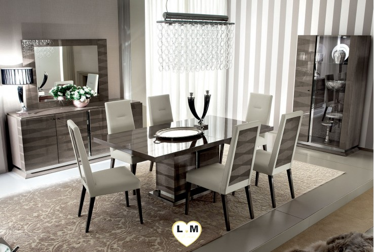 BEVERLY LAQUE VELOURS TAUPE ENSEMBLE SEJOUR SALLE A MANGER