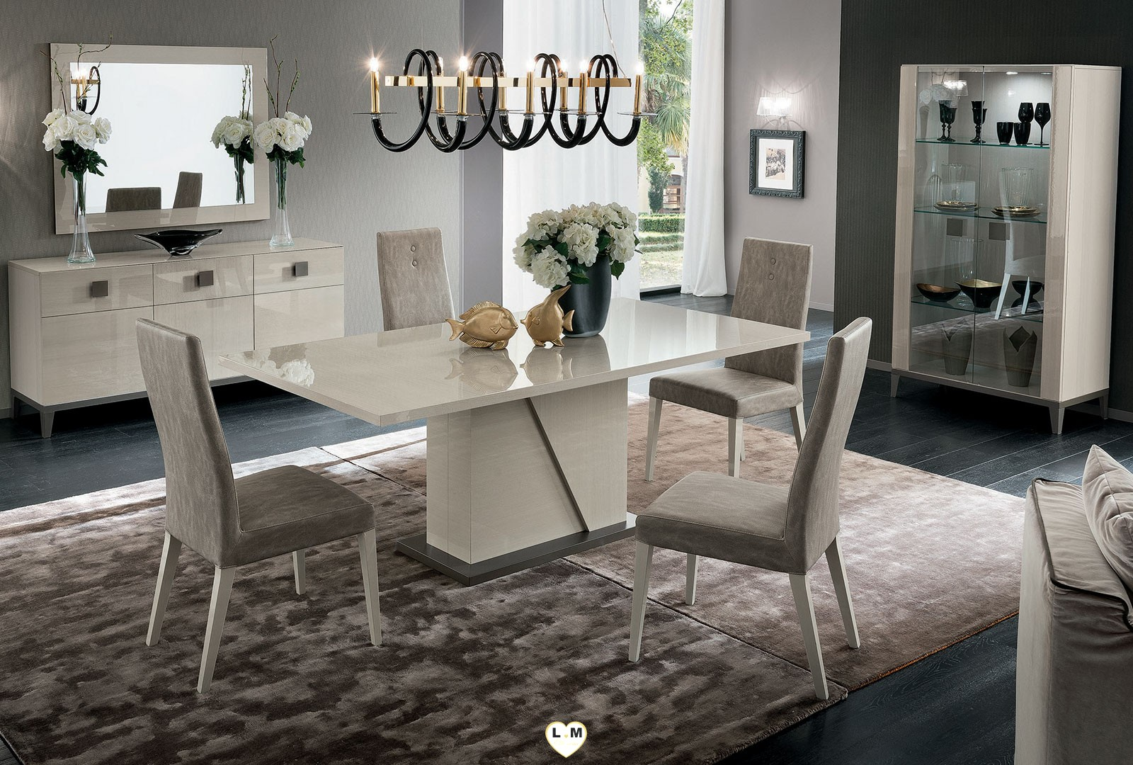 rodeo drive laque koto blanc creme ensemble sejour salle a manger lignemeuble com. Black Bedroom Furniture Sets. Home Design Ideas