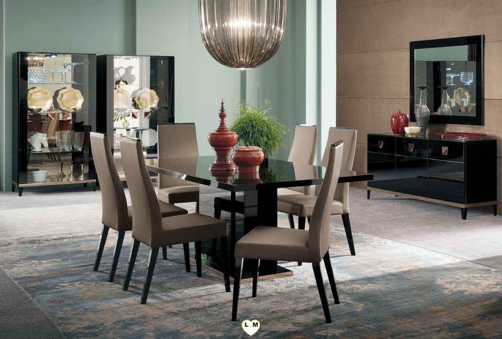 Fairfax laque noir brillant ensemble sejour salle a manger ligne meuble votre site de meuble - Ensemble salle a manger ...