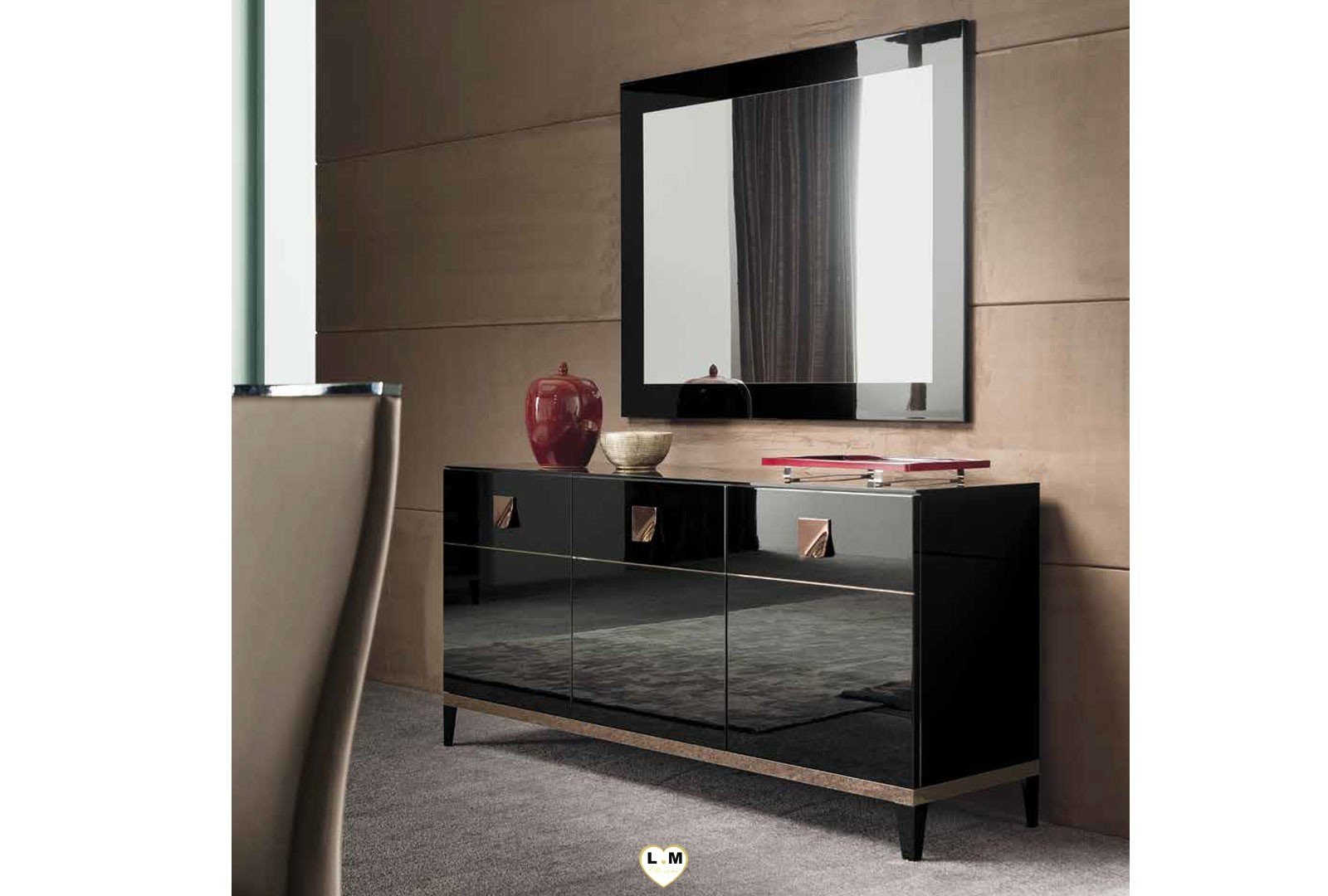 fairfax laque noir brillant ensemble sejour salle a manger lignemeuble com. Black Bedroom Furniture Sets. Home Design Ideas