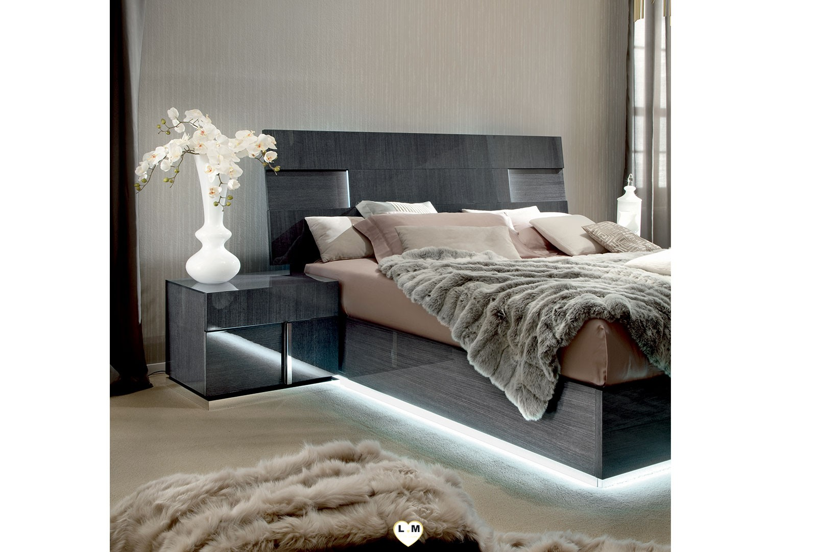 Hollywood laque koto gris ensemble chambre a coucher - Ensemble lit x ...