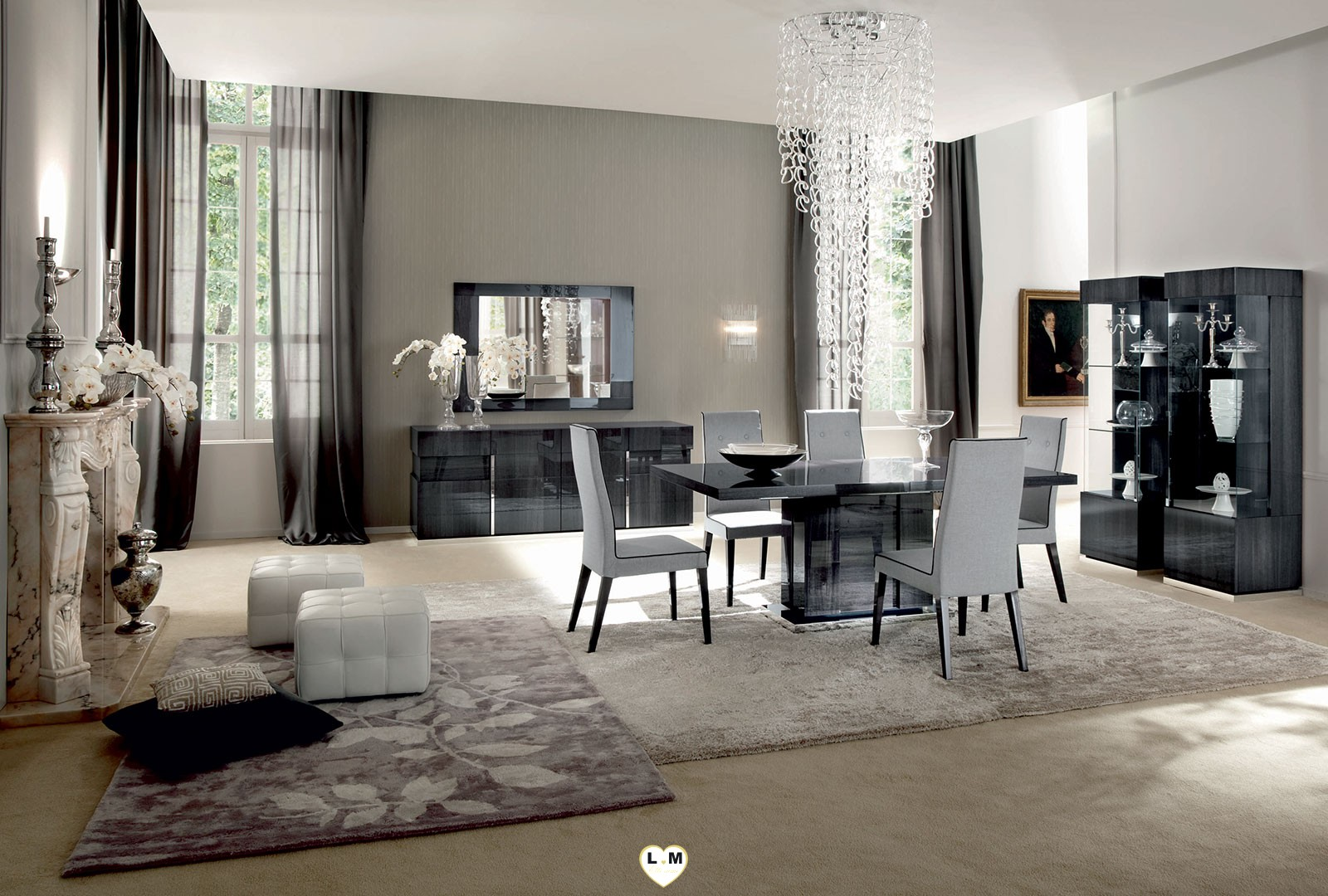hollywood laque koto gris ensemble sejour salle a manger. Black Bedroom Furniture Sets. Home Design Ideas