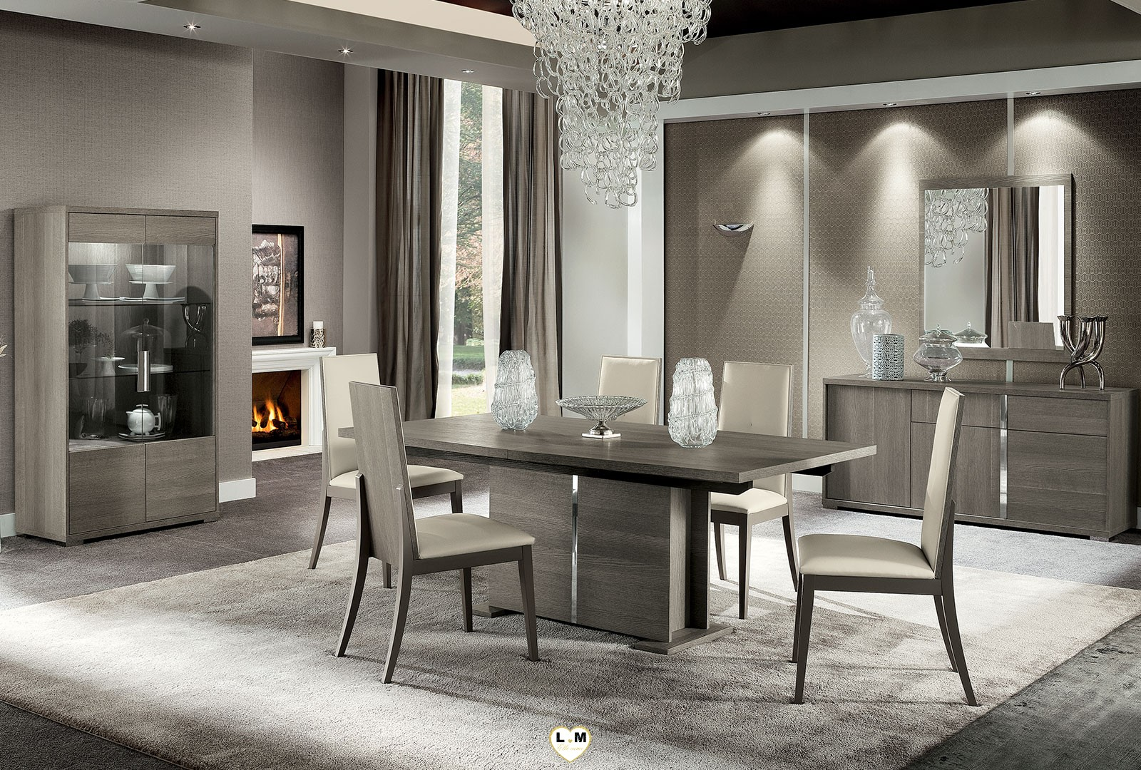 riverside chene gris mat composition murale meuble tv lignemeuble com. Black Bedroom Furniture Sets. Home Design Ideas