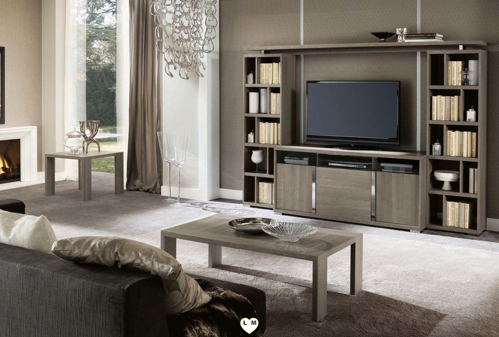 riverside chene gris mat composition murale meuble tv lignemeuble com. Black Bedroom Furniture Sets. Home Design Ideas