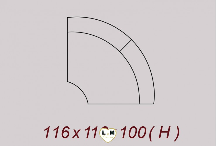 DENVER ENSEMBLE SALON CUIR : Angle 116 cm X 116 cm
