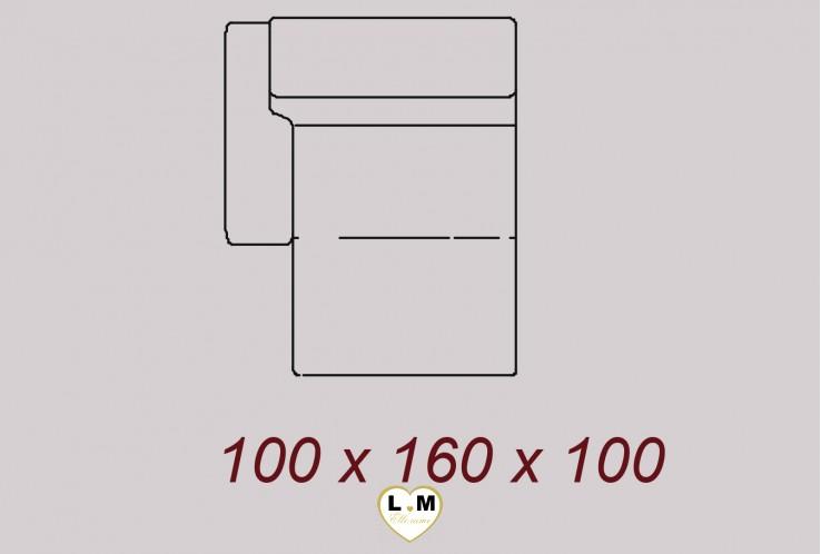 DENVER ENSEMBLE SALON CUIR : Chaise Longue Gauche 100 cm