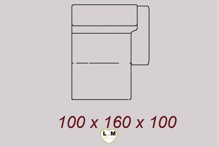 DENVER ENSEMBLE SALON CUIR : Chaise Longue Droite 100 cm
