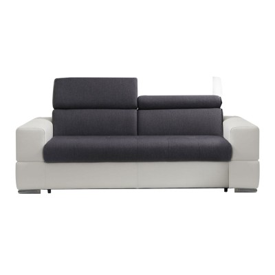 NEBRASKA ENSEMBLE SALON CONVERTIBLE CUIR : Canape Lit Convertible 3 Places (238 cm) Couchage 160 cm