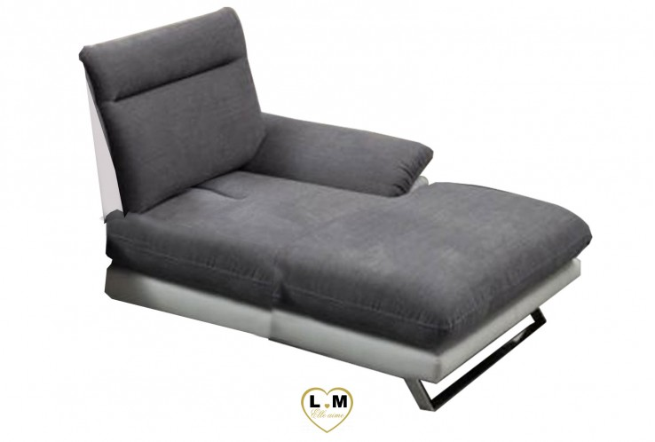 HONOLULU ENSEMBLE SALON ANGLE TISSUS : Chaise Longue Droite Basculante (100cm)