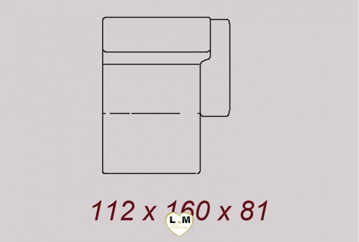 PITTSBURGH ENSEMBLE SALON ANGLE CUIR :  Chaise Longue Droite - 112x160 cm