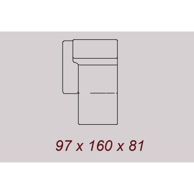 PITTSBURGH ENSEMBLE SALON ANGLE CUIR :  Chaise Longue Gauche - 97x160 cm