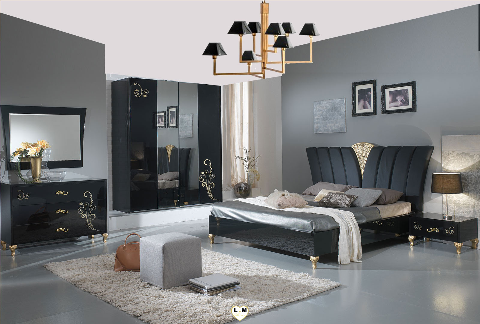 A Coucher Et DesignL'ensemble Dore Laque Noir Chambre Berenice E29IWDH
