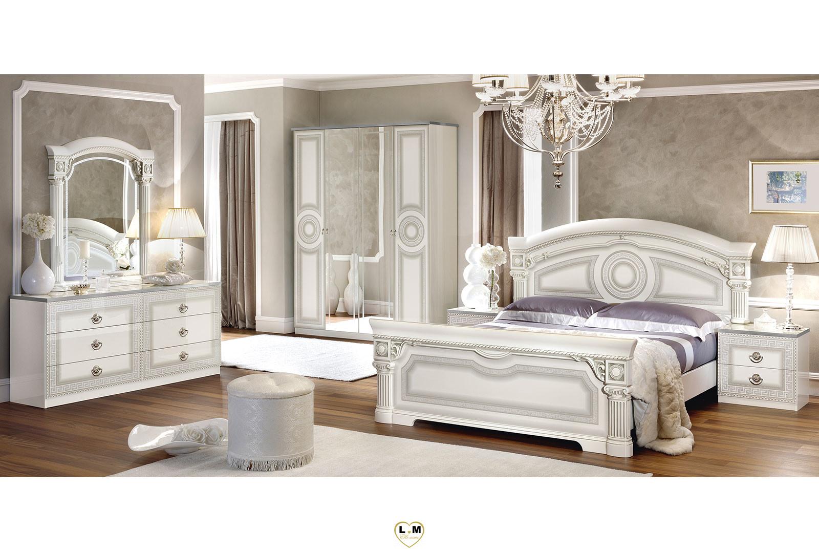 Caesar Laque Blanc Et Argent Chambre A Coucher Le Lit 180x200