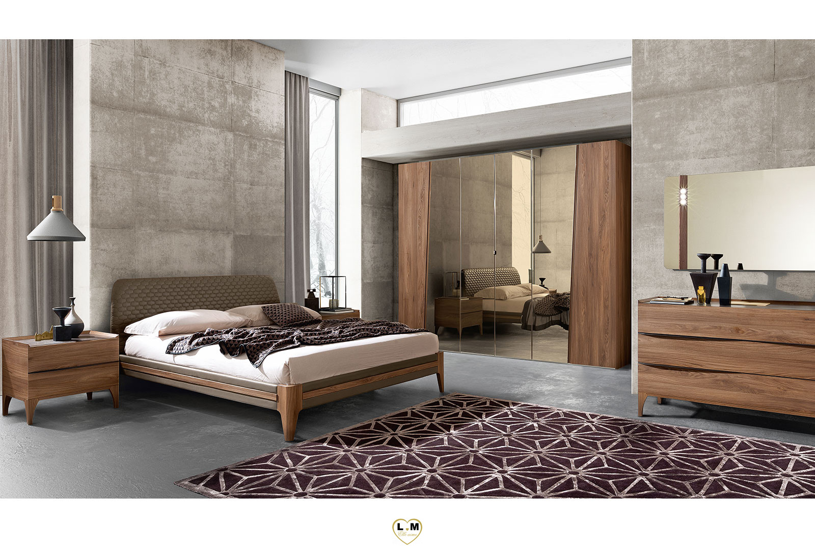 Flavius bois orme tabac chambre a coucher tendance le - Catalogue chambre a coucher en bois ...