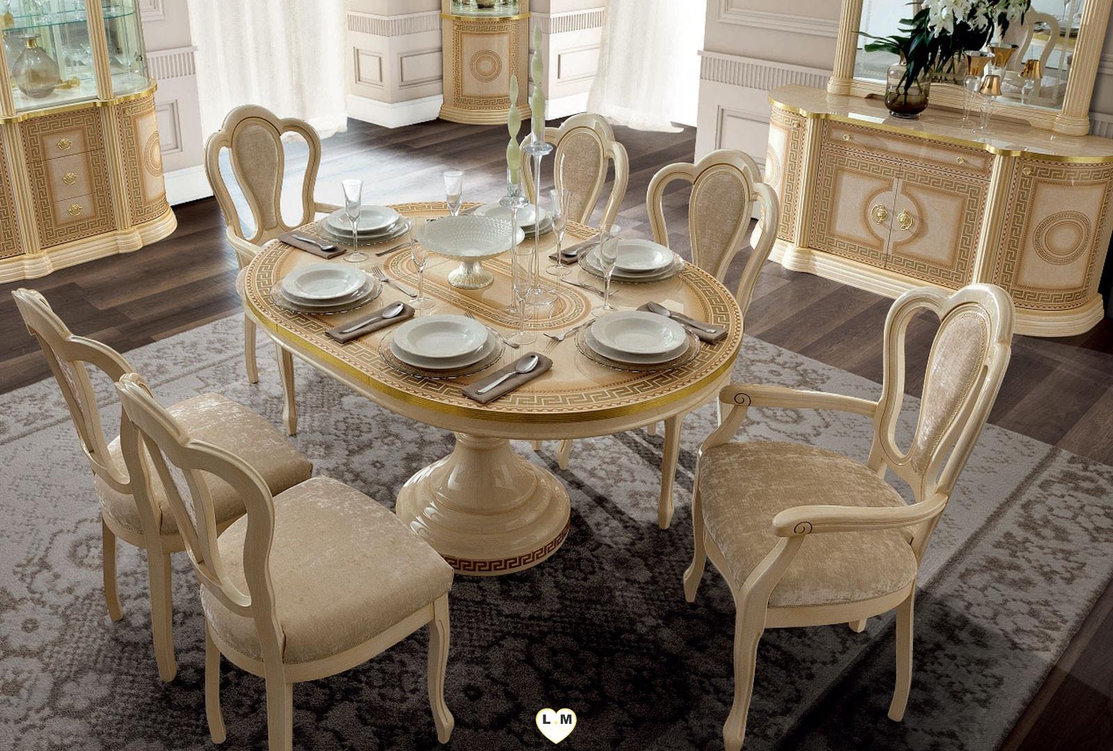 Caesar laque ivoire et dore ensemble sejour salle a manger for Ensemble salle a manger avec buffet