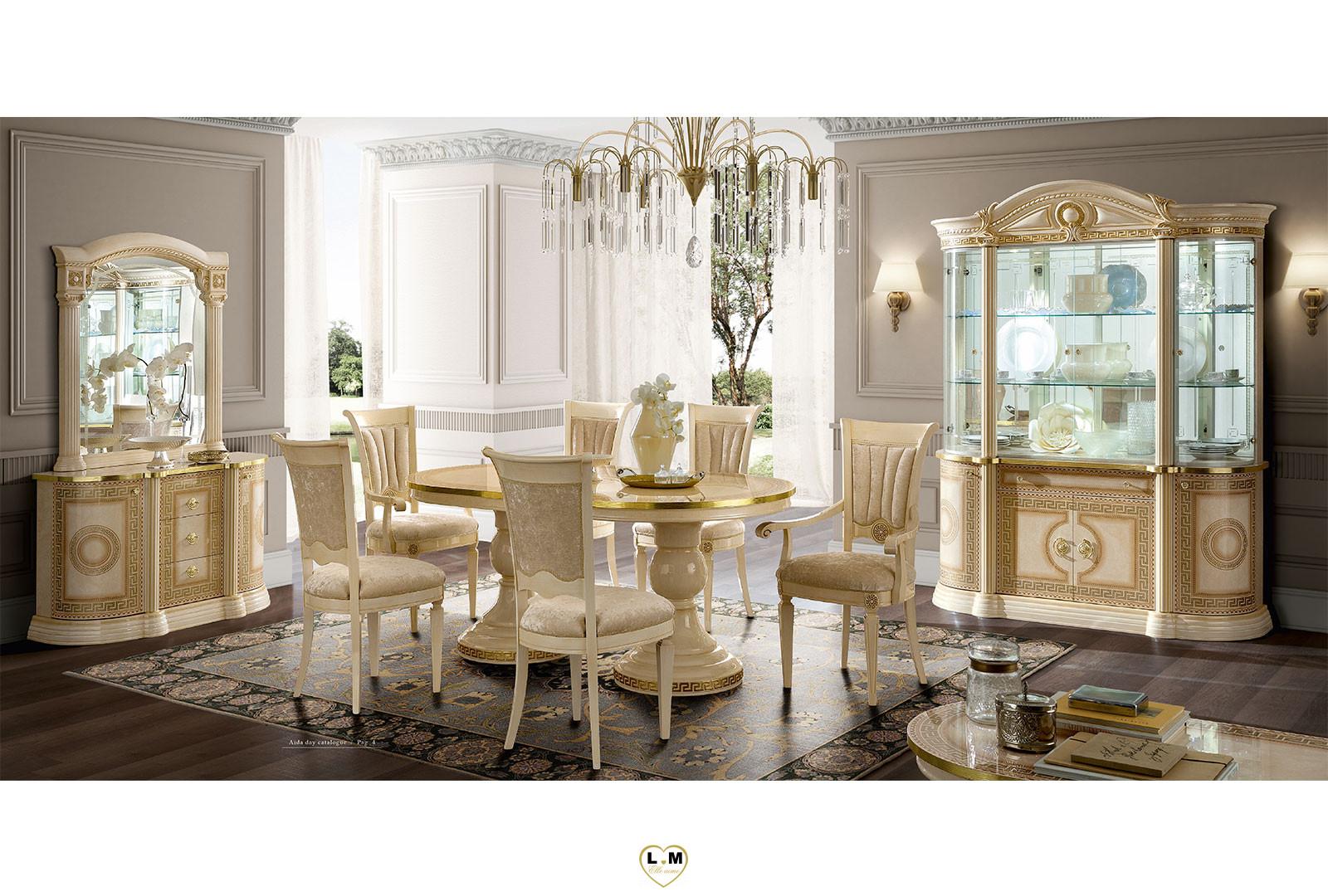 Caesar laque ivoire et dore ensemble sejour salle a manger for Sejour salle a manger pas cher