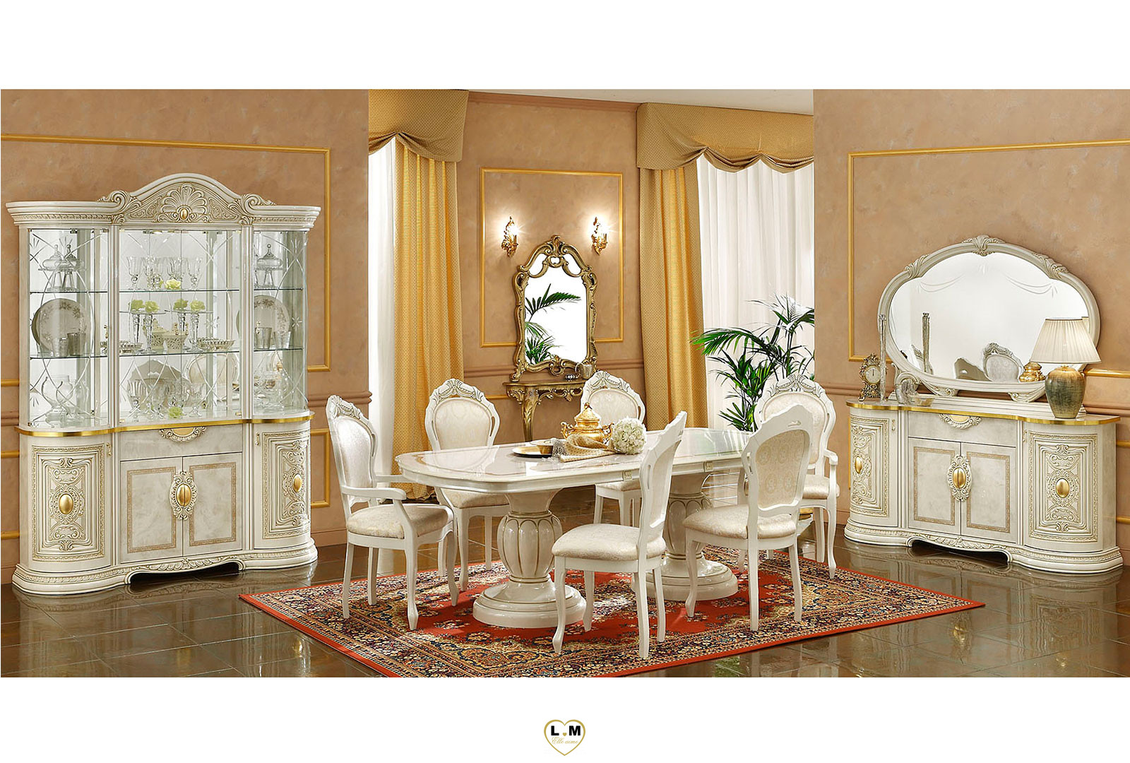 claudius laque ivoire et dore sejour salle a manger baroque l 39 ensemble avec le living 4. Black Bedroom Furniture Sets. Home Design Ideas