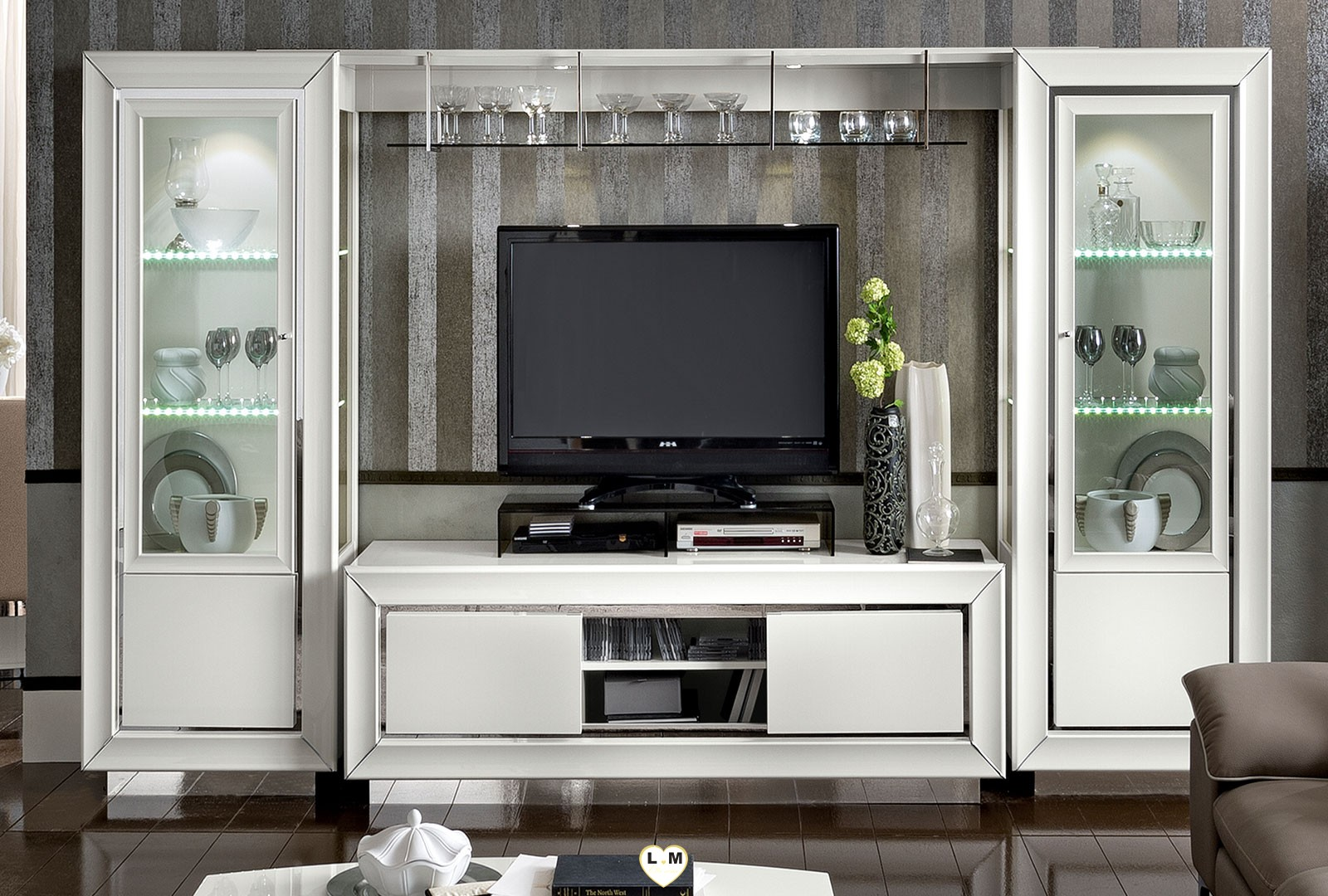 maximus laque blanc brillant sejour salle a manger contemporain la composition meuble tv avec. Black Bedroom Furniture Sets. Home Design Ideas