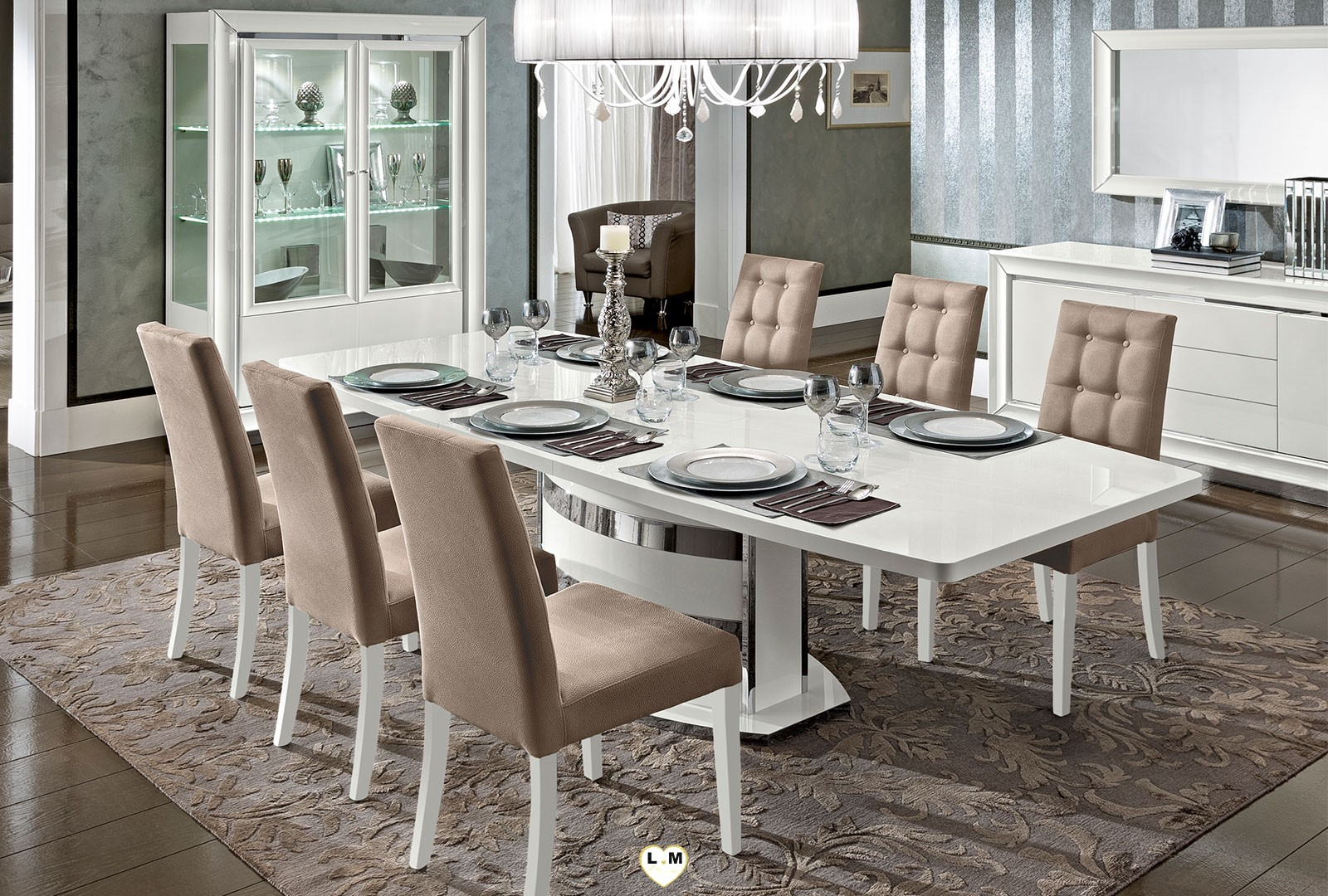 maximus laque blanc brillant sejour salle a manger contemporain la grande table repas. Black Bedroom Furniture Sets. Home Design Ideas