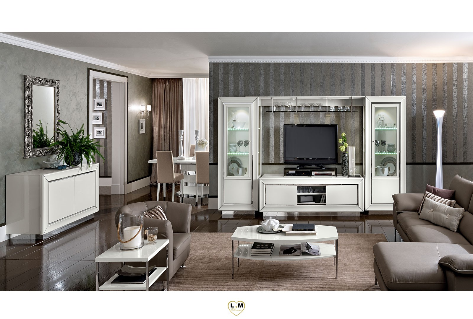maximus laque blanc brillant sejour salle a manger contemporain le meuble tv lignemeuble com. Black Bedroom Furniture Sets. Home Design Ideas