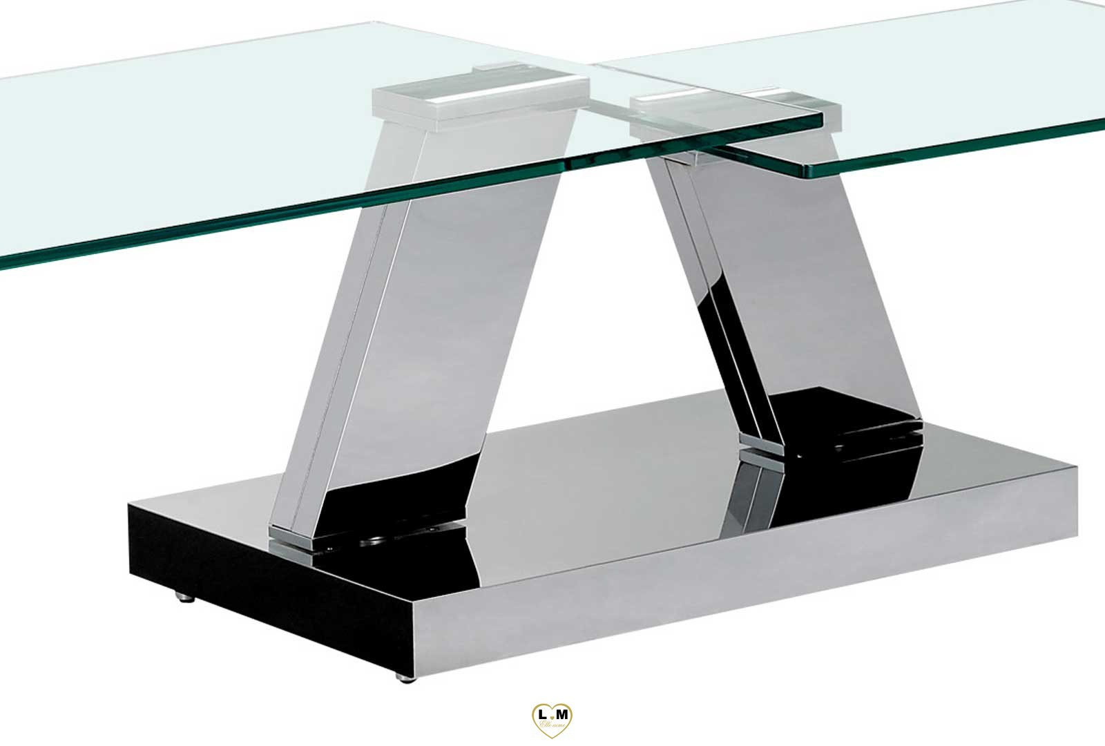 bastille table basse chrome verre articulee lignemeuble com. Black Bedroom Furniture Sets. Home Design Ideas