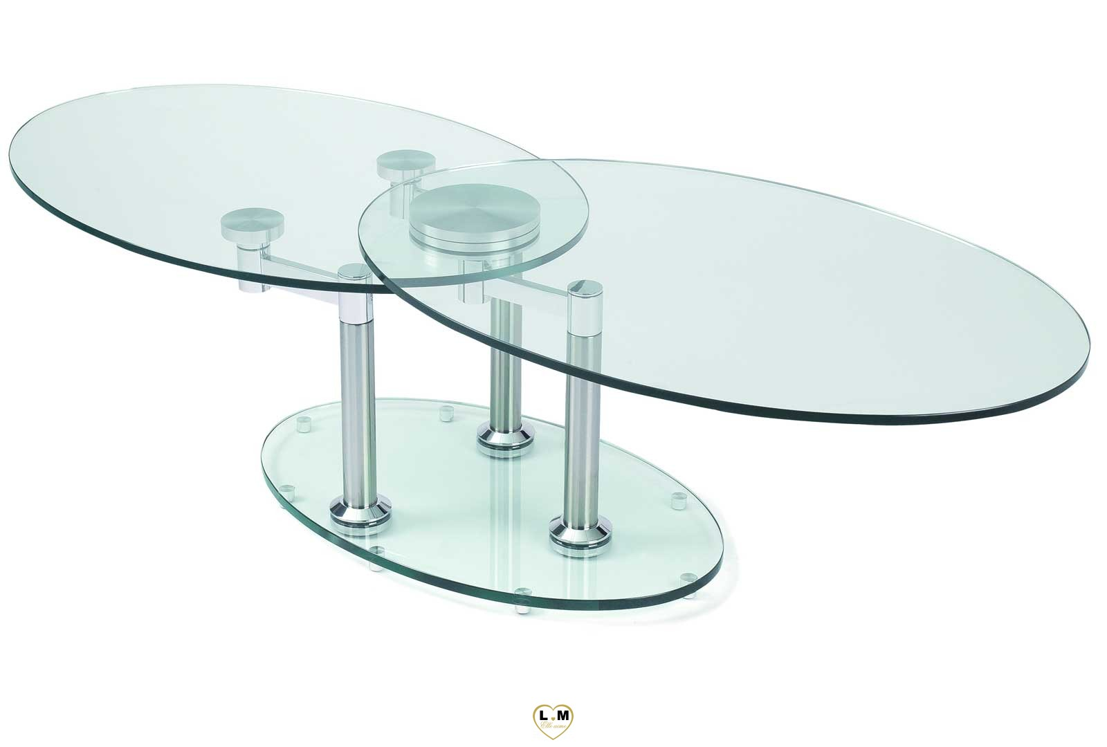 concorde chrome silver table basse verre articulee lignemeuble com. Black Bedroom Furniture Sets. Home Design Ideas