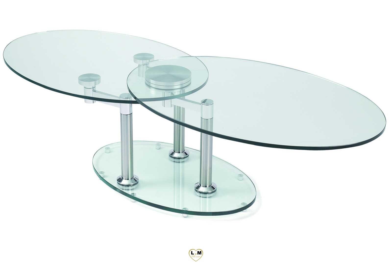 concorde chrome silver table basse verre articulee lignemeuble com. Black Bedroom Furniture Sets. Home Design Ideas