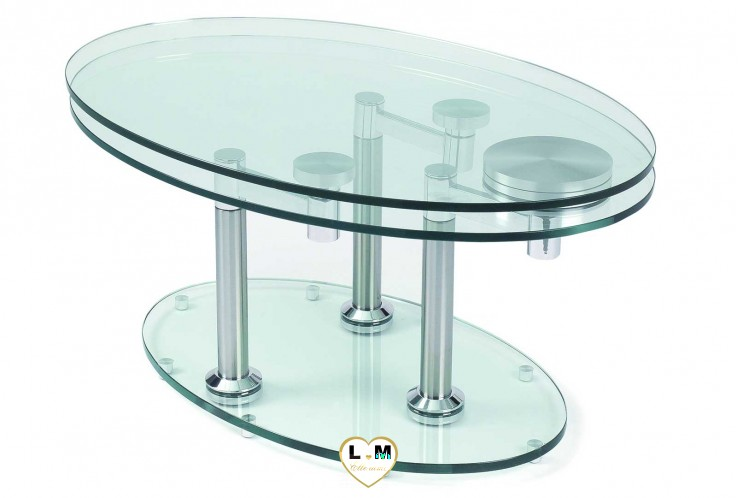 CONCORDE CHROME SILVER TABLE BASSE VERRE ARTICULÉE