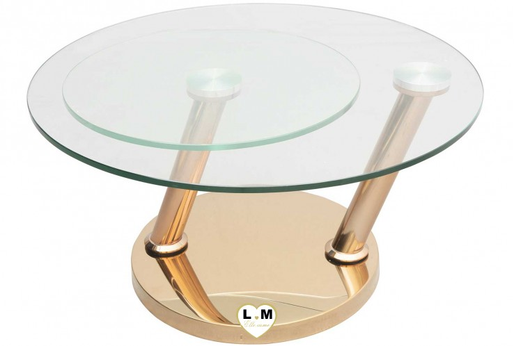 LUXEMBOURG CHROME DORÉ TABLE BASSE VERRE ARTICULÉE