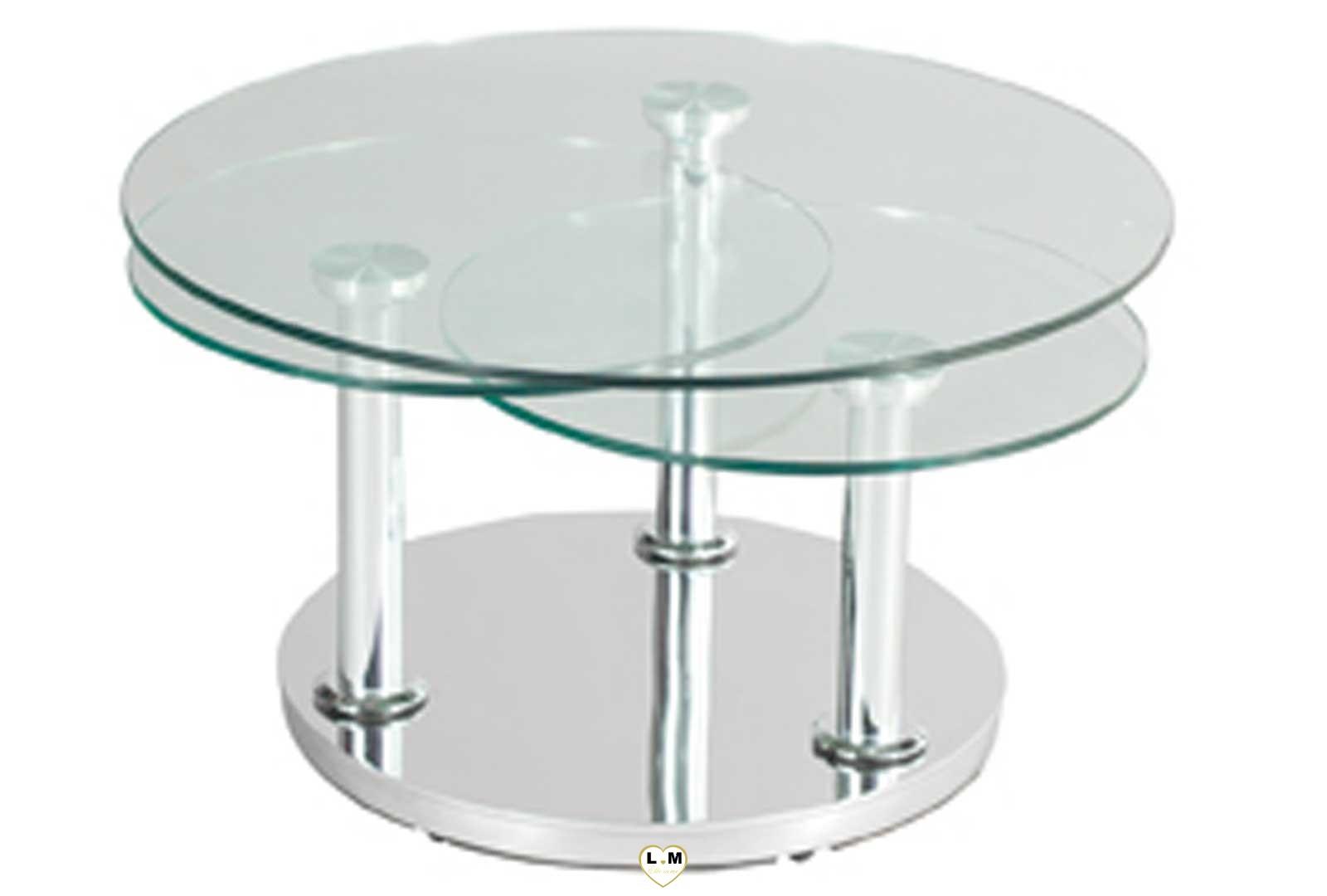 Montparnasse chrome silver table basse verre articulee lignemeuble com - Table basse pied chrome ...