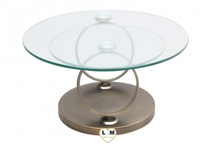 SAINT GERMAIN BRONZE TABLE BASSE VERRE ARTICULÉE