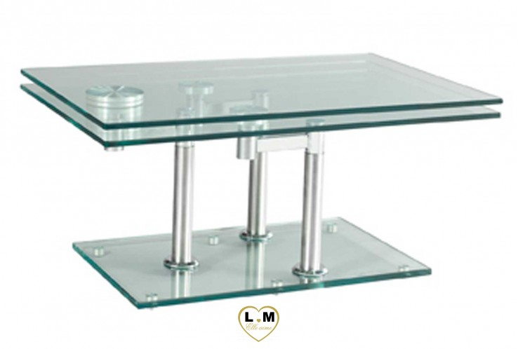 SAINT MICHEL CHROME SILVER TABLE BASSE VERRE ARTICULÉE