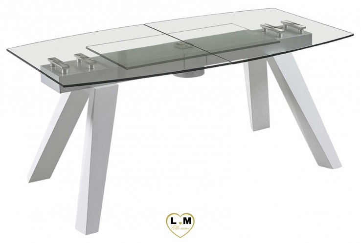 TROCADERO BLANC TABLE REPAS VERRE ALLONGE