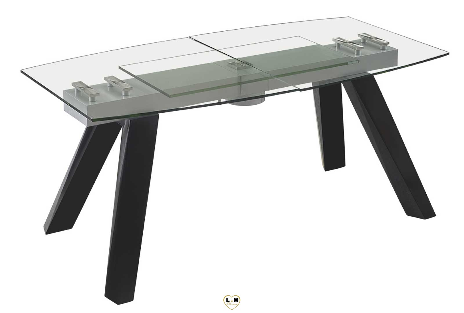 trocadero noir table repas verre allonge lignemeuble com. Black Bedroom Furniture Sets. Home Design Ideas