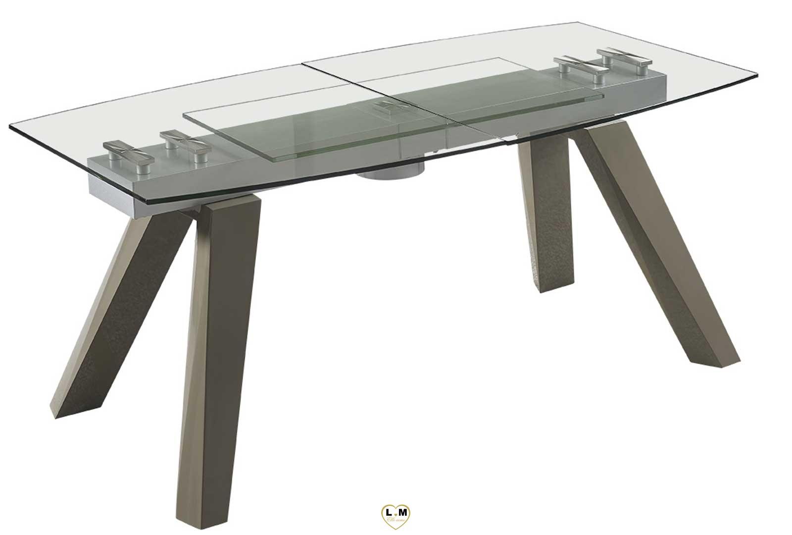 Table Sejour Taupe Et Gris : Trocadero gris taupe table repas verre allonge