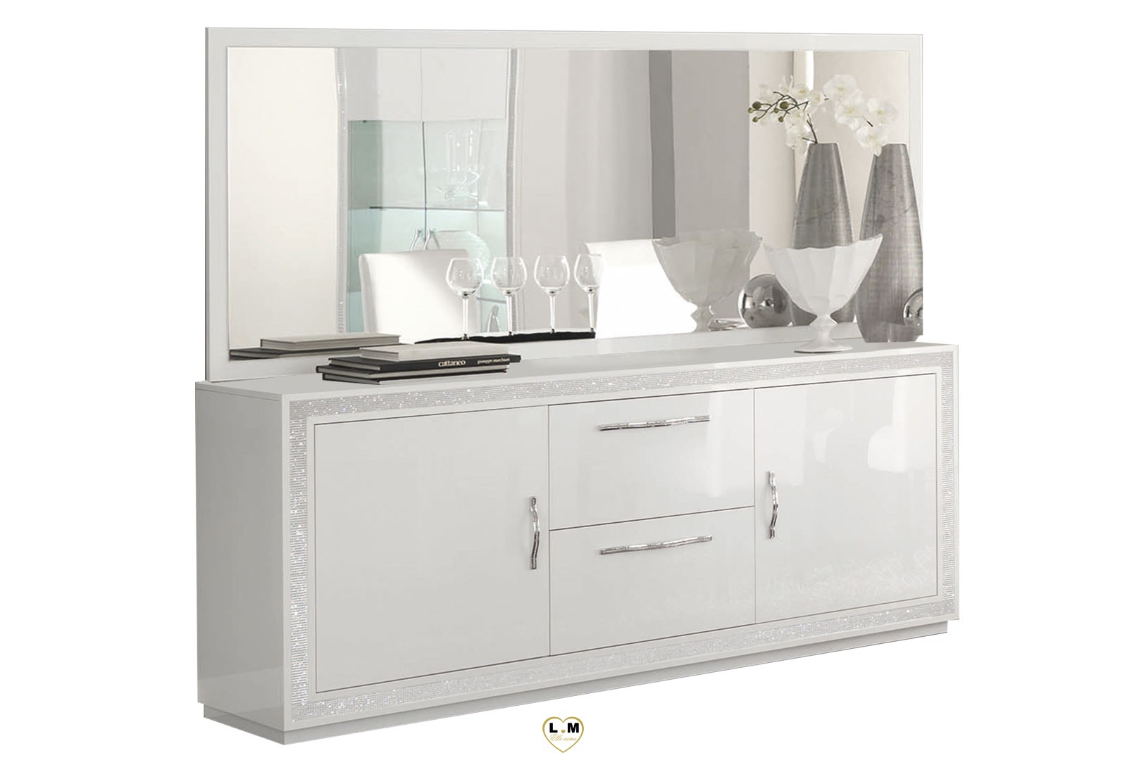 baccara laque blanc sejour salle a manger design le buffet lignemeuble com. Black Bedroom Furniture Sets. Home Design Ideas