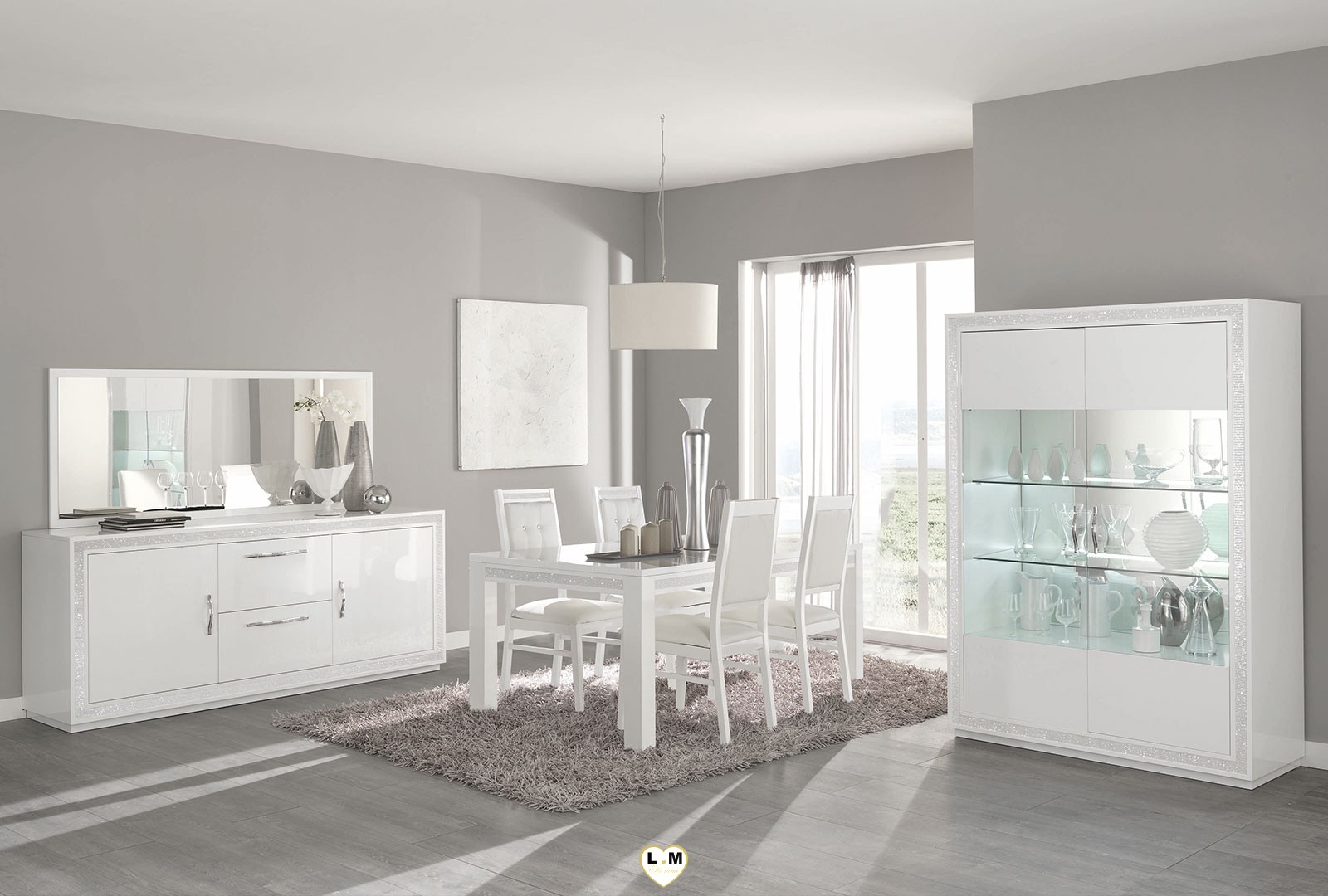 baccara laque blanc sejour salle a manger design le. Black Bedroom Furniture Sets. Home Design Ideas