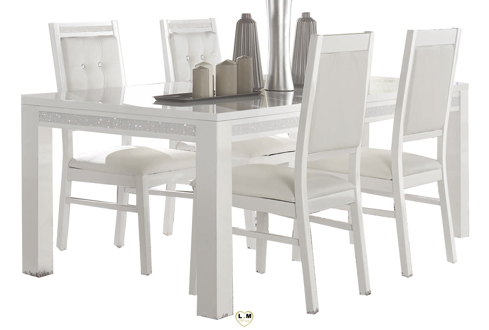 baccara laque blanc sejour salle a manger design la grande table repas lignemeuble com. Black Bedroom Furniture Sets. Home Design Ideas