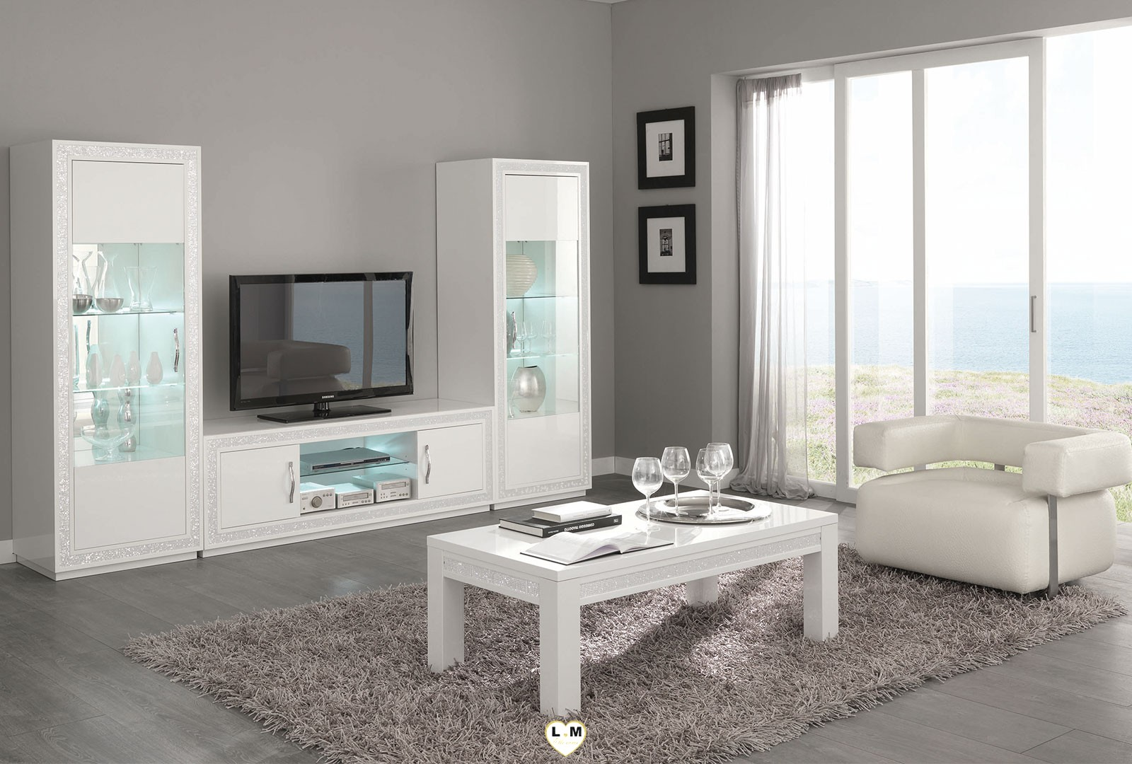 Baccara laque blanc sejour salle a manger design le - Meuble salle a manger blanc laque ...