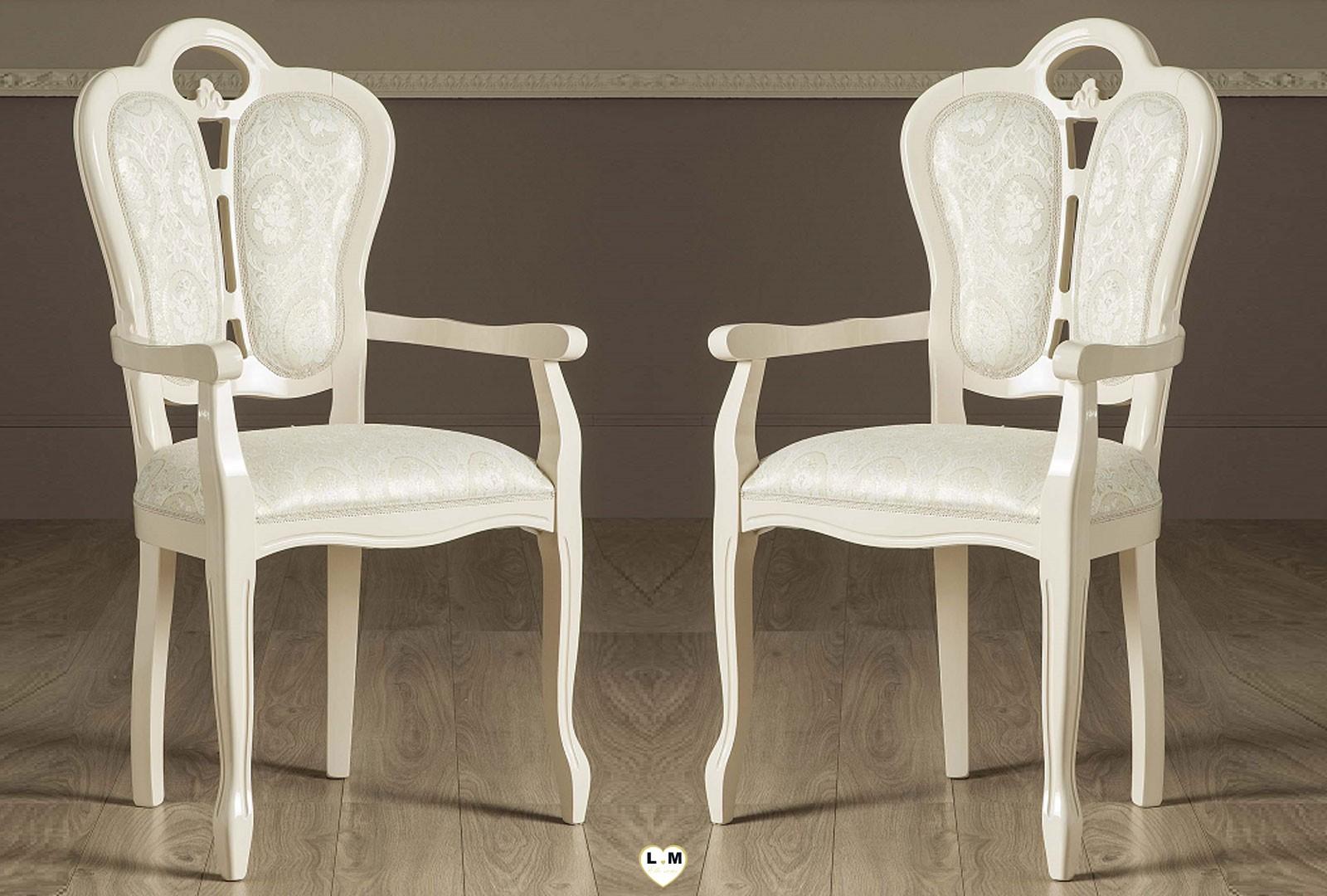 garbo laque ivoire salle a manger baroque la chaise accoudoir tissus lignemeuble com. Black Bedroom Furniture Sets. Home Design Ideas