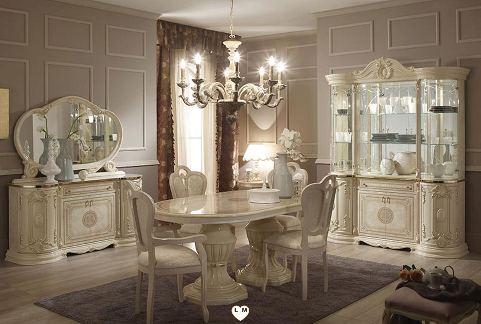 garbo laque ivoire salle a manger baroque la table repas ovale allonge lignemeuble com. Black Bedroom Furniture Sets. Home Design Ideas