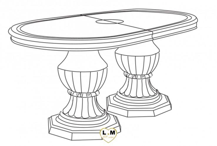 GARBO LAQUÉ IVOIRE SALLE À MANGER BAROQUE : La Table Repas Ovale Allonge