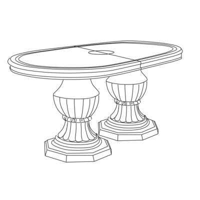 GARBO LAQUÉ BLANC ET ARGENT SALLE À MANGER BAROQUE : La Table Repas Ovale Allonge