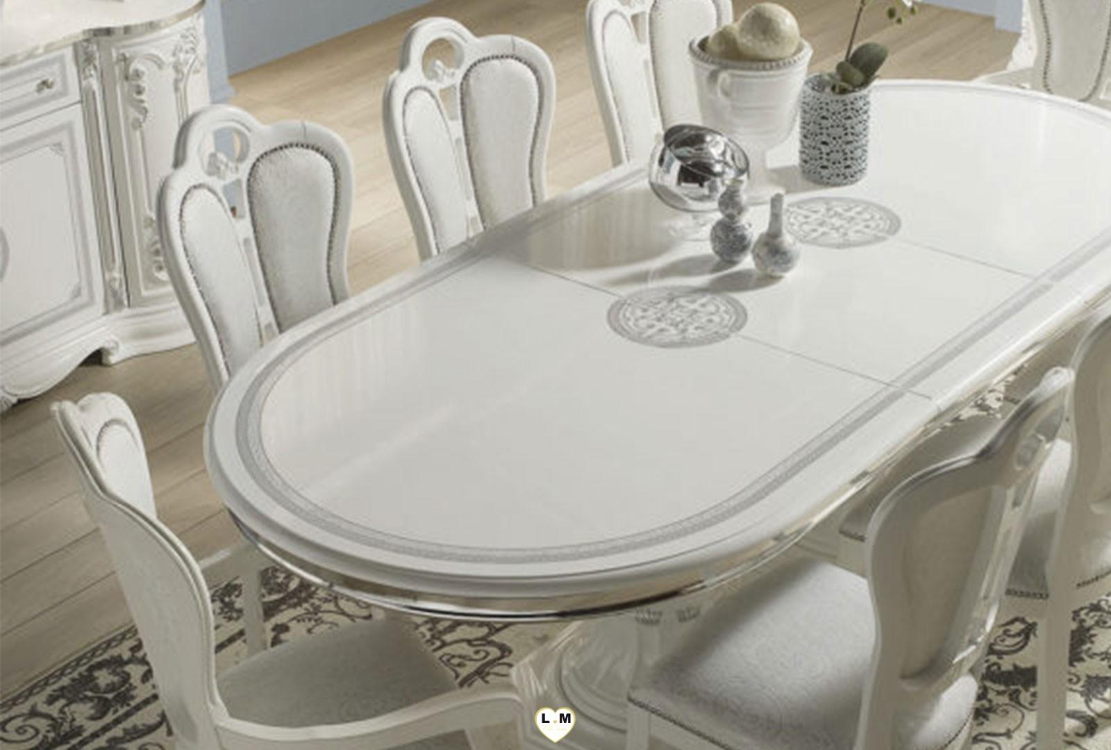 garbo laque blanc et argent sejour salle a manger baroque. Black Bedroom Furniture Sets. Home Design Ideas