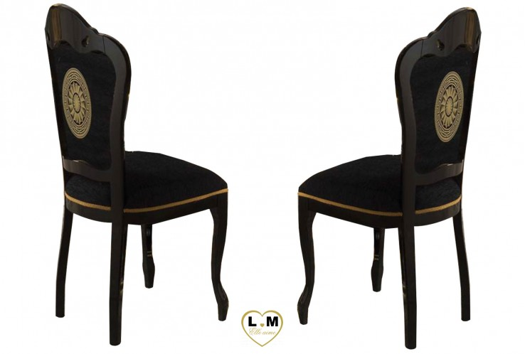 versus laque noir et dore salle a manger baroque la chaise lignemeuble com. Black Bedroom Furniture Sets. Home Design Ideas