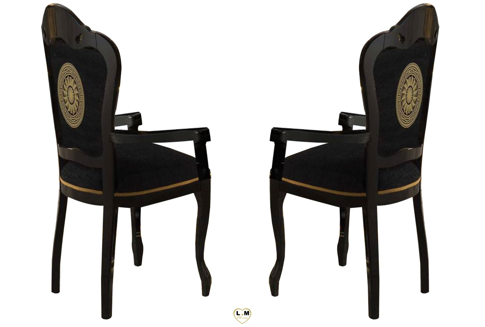 versus laque noir et dore salle a manger baroque la chaise accoudoir lignemeuble com. Black Bedroom Furniture Sets. Home Design Ideas